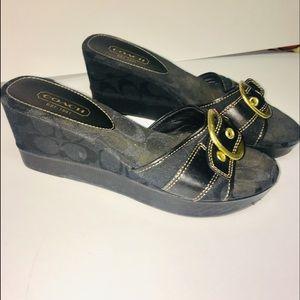 Black on black coach sandal wedges 9m